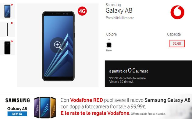 Vodafone, offerta Samsung Galaxy A8 2018 da 99 euro fino al 4 aprile