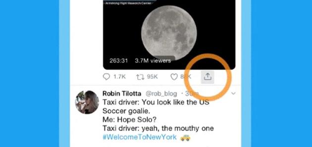 Twitter, nuova icona Condividi