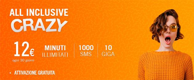 Wind All Inclusive Crazy: solo il 9 marzo minuti illimitati, 10 Giga e 1000 SMS a 12 euro al mese