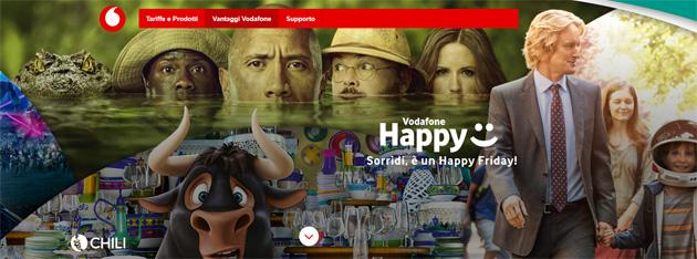 Vodafone Happy Friday il 20 Aprile regala 10 Euro su Chili per noleggiare film in digitale