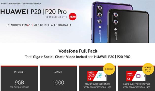 Vodafone Full Pack: offerta con Huawei P20 o P20 Pro, Giga, Social, Chat e Video inclusi