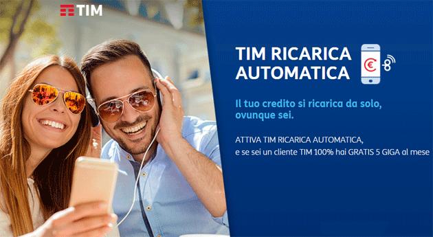TIM Ricarica Automatica regala 5 Giga di Internet