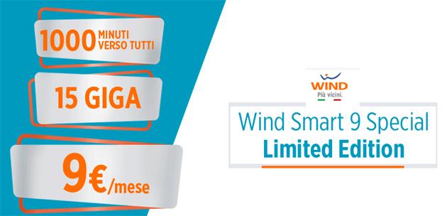 Wind Smart 9 Special: 15 giga e 1000 minuti a 9 euro al mese fino al 31 maggio