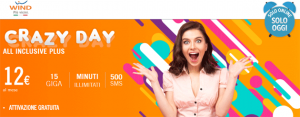 Wind Crazy Day 20 Aprile: All Inclusive Plus con minuti illimitati, 15 Giga e 500 SMS a 12 euro al mese. Inclusi 2 mesi di Now TV Mobile