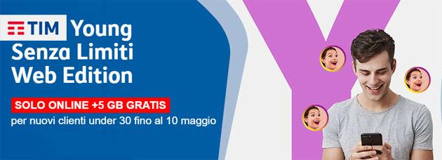 TIM Young Senza Limiti Web Edition: 15 Giga, chat, musica e minuti illimitati a 13 euro al mese per un anno