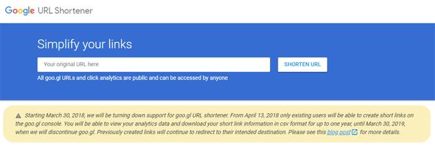 Google URL Shortener chiude, servizio per creare link brevi