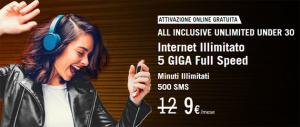 Wind All Inclusive Unlimited Under 30: 5GB, 500 SMS e minuti illimitati a 9 euro fino al 22 luglio