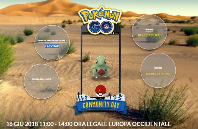 Pokemon GO, sesto Community Day il 16 Giugno con special guest Larvitar