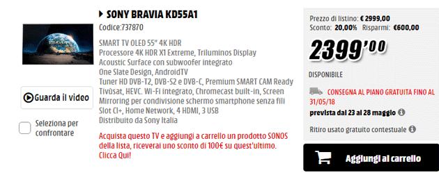 MediaWorld sconta un prodotto Sonos 100 euro acquistando selezionati TV