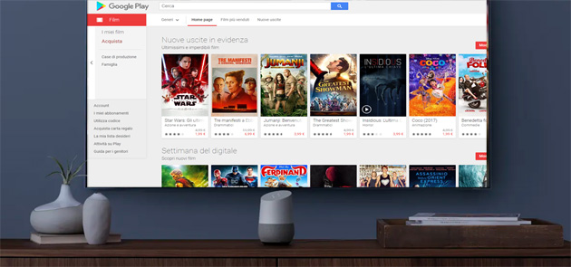 Google Play Film, trasmissione dei contenuti in TV tramite Google Home e Assistente