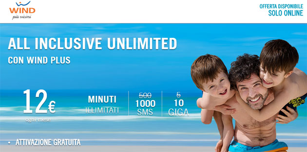 Wind All Inclusive Unlimited con gratis 1 anno Wind Plus e 2 mesi Now TV Mobile