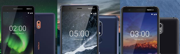 Foto Nokia 5.1, 3.1, e 2.1 pronti per Android 9 Pie