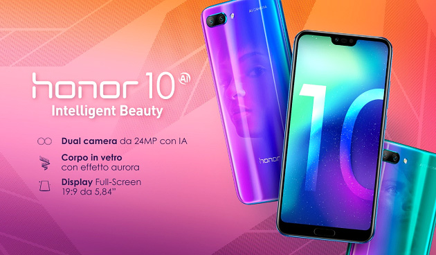Honor 10 con Kirin 970, notch, IA e Dual Camera in Italia da 399 euro
