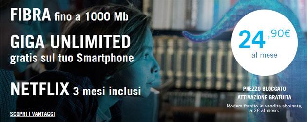 3Fiber: Fisso e Mobile con giga senza limiti da 24,90 euro in promo con Netflix fino al 18 Giugno