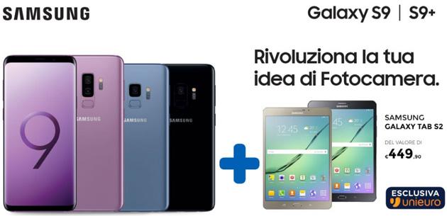 Samsung Galaxy S9 regala Galaxy Tab S2 da Unieuro