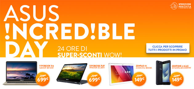 Foto Asus Incredible Day 8 giugno 2018: smartphone, laptop e tablet scontati online