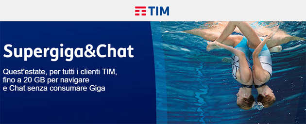 TIM SuperGiga e Chat Estate 2018: fino a 50GB per tre mesi da 10 euro