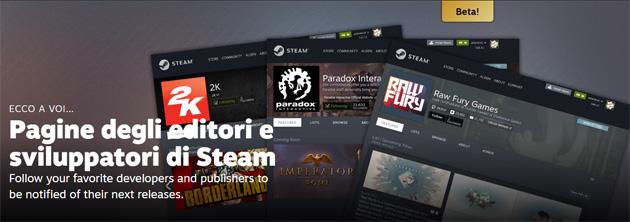 Steam lancia le Pagine degli editori e sviluppatori in beta