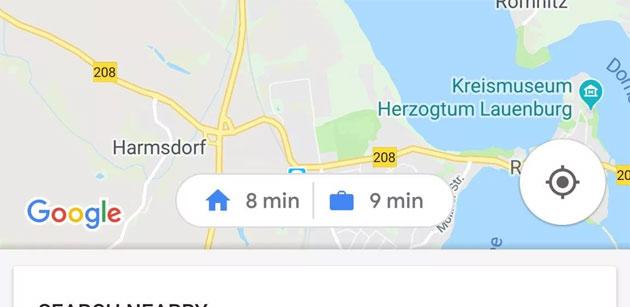Google Maps testa scorciatoie per le indicazioni stradali verso Casa e Lavoro