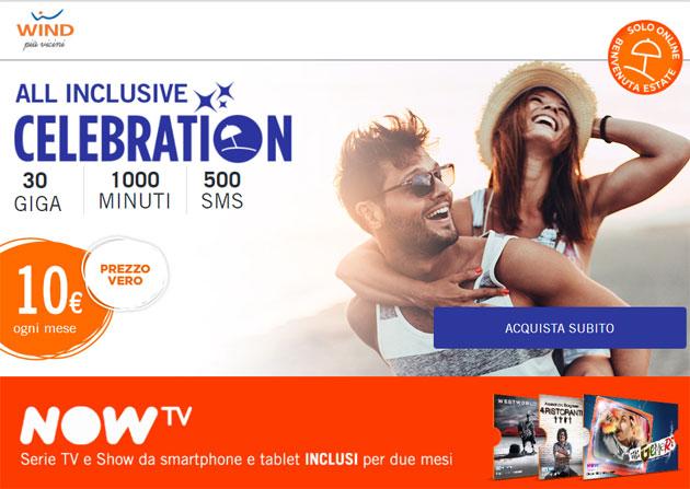 Wind All Inclusive Celebration 30 il 22 Giugno offre 1000 minuti, 30 Giga e 500 SMS a 10 euro mensili