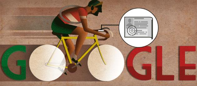 Google doodle per Gino Bartali a 104 anni dalla nascita, ciclista ed 'eroe di guerra'