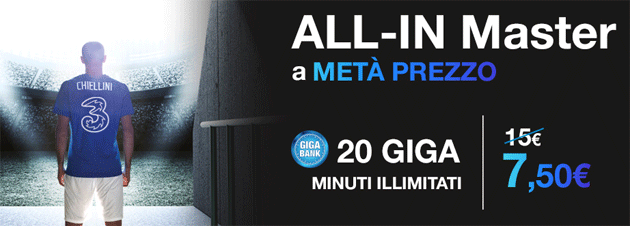 3 ALL-IN Prime, Master e Power scontate a meta' prezzo questa estate
