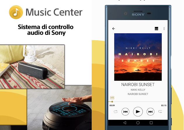 Foto App Sony Music Center solo su Android 5.0 o superiore