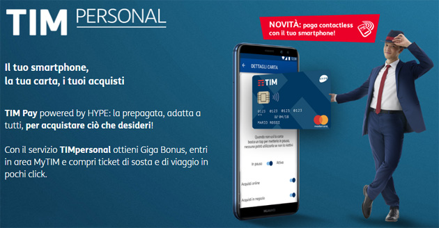 Foto TIM Pay, servizio di mobile payment con carta prepagata, pagamenti contactless e supporto in Apple Pay