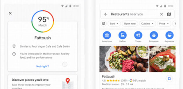Google Maps mostra quanto potrebbe piacere un ristorante
