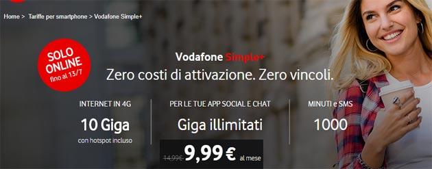 Vodafone Simple Plus fino al 17 luglio: 10 giga, 1000 minuti e SMS da 10 euro al mese con Pass Social e Chat incluso