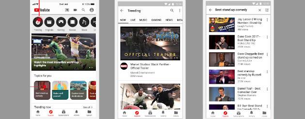 Youtube testa la scheda Esplora