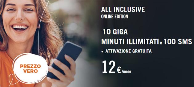 Wind All Inclusive Online Edition: 10 giga, minuti illimitati e 100 SMS per 12 auero al mese