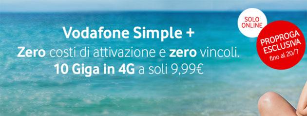 Vodafone Simple Plus fino al 20 luglio: 10 giga, 1000 minuti e SMS da 10 euro al mese con Pass Social e Chat incluso