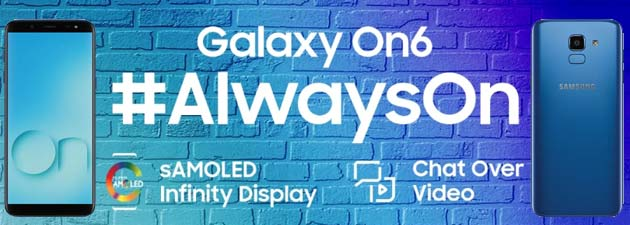 Samsung Galaxy On6 ufficiale con Android Oreo, 4GB di RAM, Infinity display 5.6, batteria 300mAh