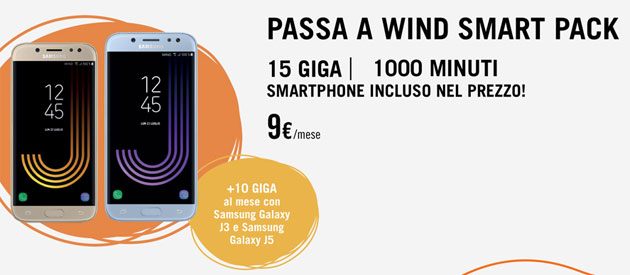 Passa a Wind Smart Pack: 15 giga, 1000 minuti e nuovo smartphone incluso per 30 rate