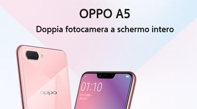Oppo A5 ufficiale con doppia fotocamera e notch