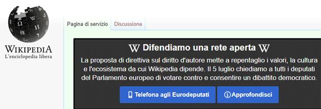Wikipedia torna accessibile dopo la sospensione per difendere un Internet aperto, bocciata la proposta di direttiva sul diritto d'autore nel mercato unico digitale