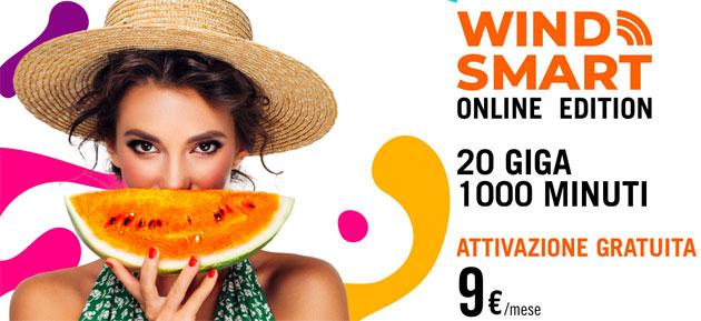 Wind Smart Online Edition: 9 euro per 20 Giga e 1000 minuti al mese [fino al 19 agosto]