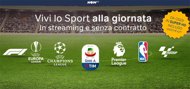 Foto Now TV, Sport da oggi in Super HD: info tecniche e commerciali