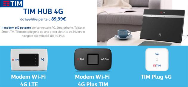 TIM Hub e Modem WiFi 4G scontati di 50 euro questa estate