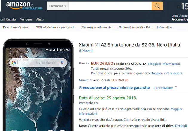 Xiaomi Mi A2 in preordine su Amazon Italia