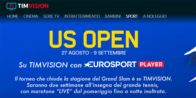 US Open 2018 su Eurosport Player, anche con TIMvision