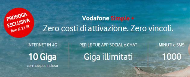 Vodafone Simple Plus fino al 21 agosto: 10 giga, 1000 minuti e SMS a 9,99 euro al mese con Pass Social e Chat incluso