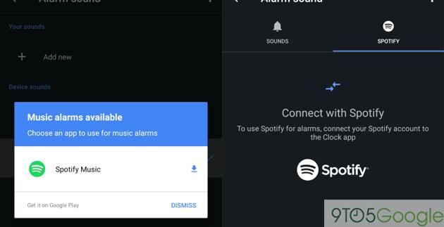 Spotify come allarme sveglia in Google Orologio