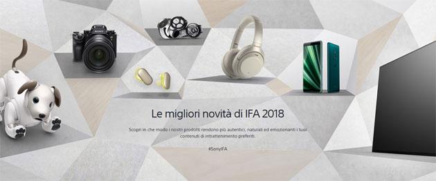 Sony a IFA 2018: Cuffie WH-1000XM3 e WF-SP900, TV Bravia Master 4K OLED AF9 e LCD ZF9, smartphone Xperia XZ3, Cyber-shot DSC-HX99 e DSC-HX95