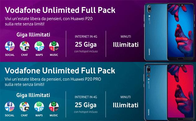 Vodafone Unlimited Full Pack: offerta con Huawei P20 o P20 Pro, 1000 minuti e 25GB da 24,99 euro