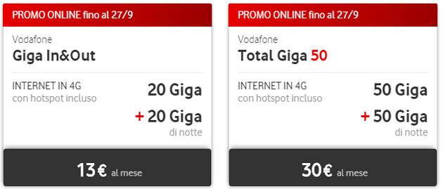 Vodafone, Tariffe per navigare da tablet, PC e chiavette