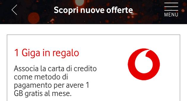 Vodafone regala 1 Giga a chi associa la carta di credito come metodo di pagamento