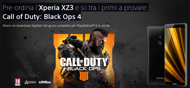 Foto Sony Xperia XZ3 in preordine regala Call of Duty Black Ops 4 per PS4