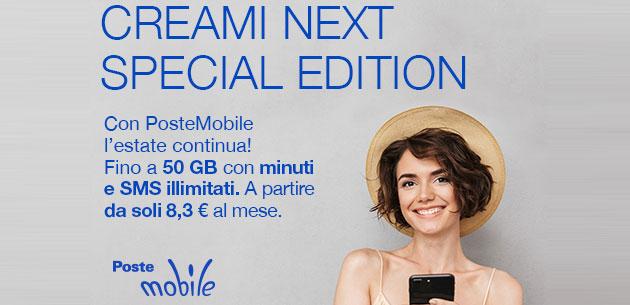 PosteMobile Creami neXt Special Edition: minuti e SMS illimitati con fino a 50 giga al mese